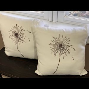 Dandelion pillows, hand-painted by Kelly Lane.